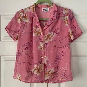 Vintage 80s Pink Floral Blouse Sz small